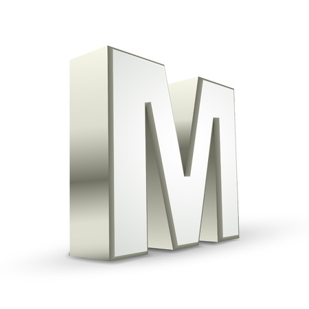 letter m: 3d silver letter M isolated white background