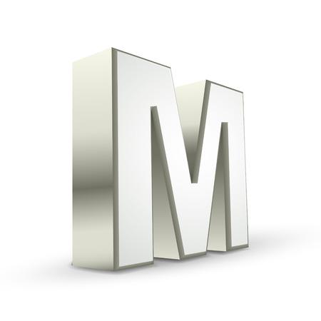 letra m: Carta 3d plata M fondo blanco aislado