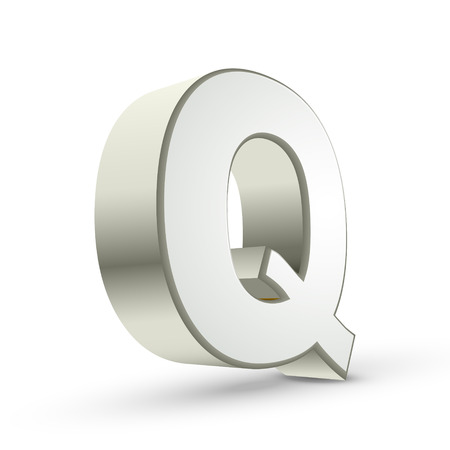 3d silver letter Q isolated white background Vector