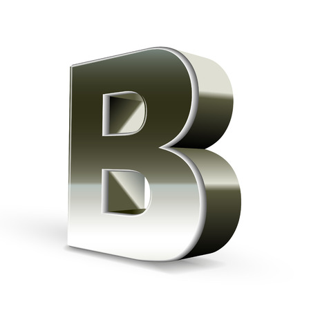 3d silver steel letter B isolated white background Vector