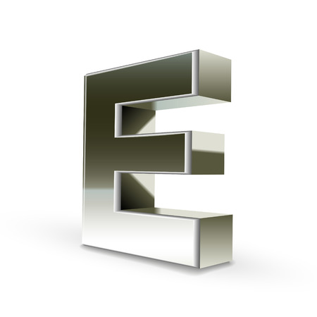 the letter e: 3d silver steel letter E isolated white background