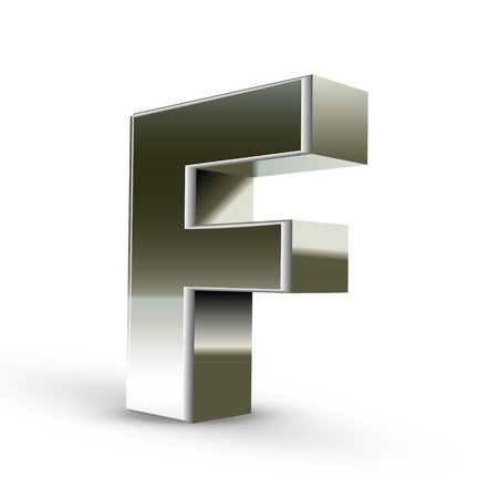 3d word: 3d silver steel letter F isolated white background