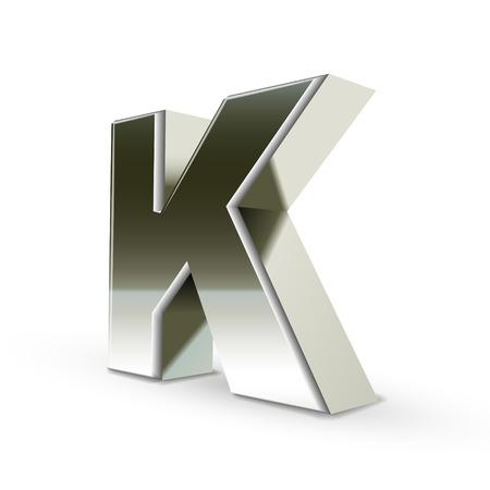 letter k: 3d silver steel letter K isolated white background