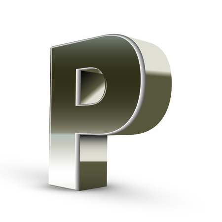 metal letter: 3d silver steel letter P isolated white background Illustration
