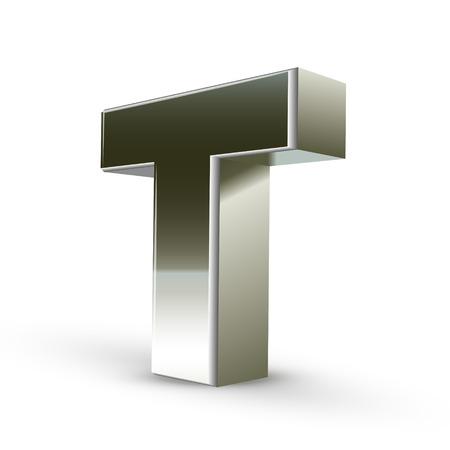 tipos de letras: Carta de acero de plata 3d T aislado fondo blanco