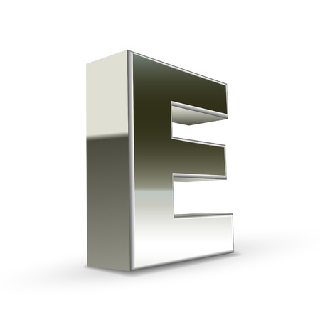 e white: 3d silver steel letter E isolated white background