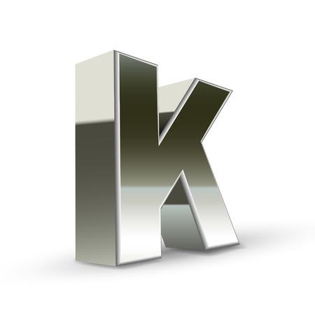 buchstabe k: 3D Silber Stahl Buchstaben K isoliert wei�em Hintergrund