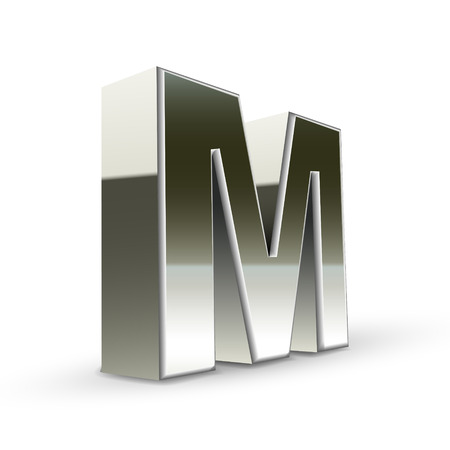 3d word: 3d silver steel letter M isolated white background