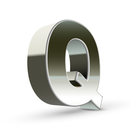 3d silver steel letter Q isolated white background Vector