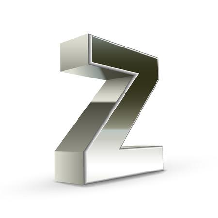 buchstabe z: 3D Silber Stahl Buchstaben Z wei�em Hintergrund isoliert