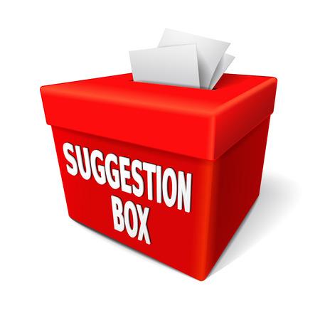 een rode ideeënbus met noten van papier gevuld in de sleuf aanbod feedback Stock Illustratie