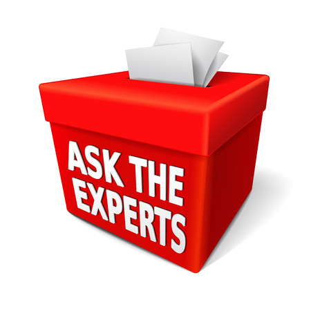 the word ask the experts on the box with notes of paper stuffed into its slot Banco de Imagens - 29840160