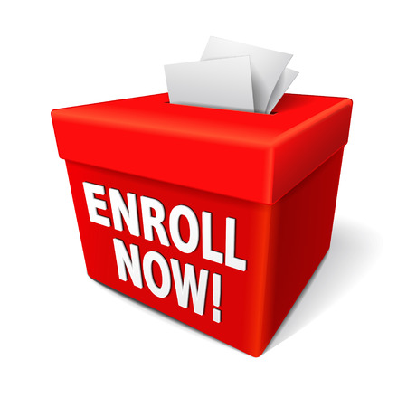 the word enroll now on the red box and enrollment application form entry box Illustration