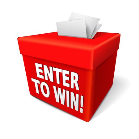Eingeben, um Worte auf einem roten Feld mit einem Schlitz für die Eingabe von Tickets oder Anmeldeformular zu gewinnen, um in einer Lotterie gewinnen Standard-Bild - 29840167
