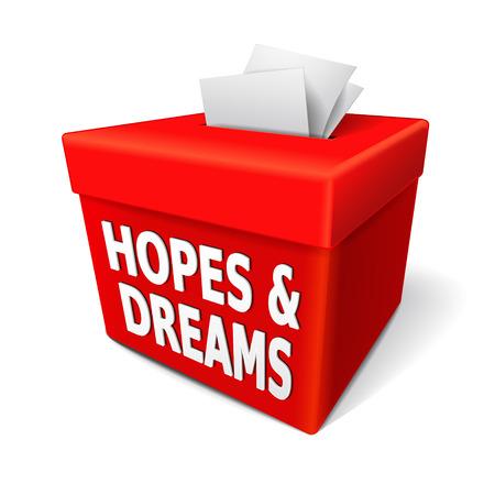 sehnsucht: Hoffnungen und Tr�ume Worte auf der roten Box mit Noten von Begierden und W�nsche