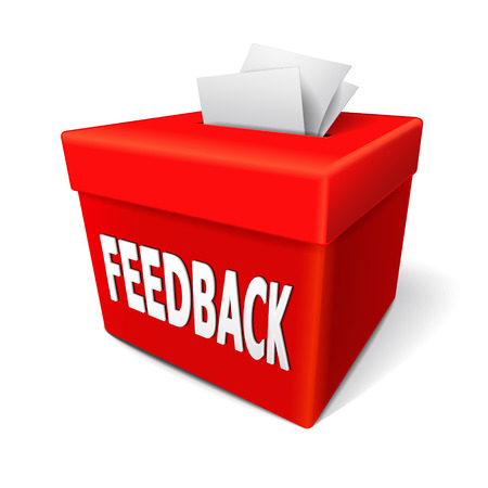constructive: feedback box words on the red box for collecting employee or customer ideas, thoughts, comments, reviews, ratings, suggestions or other communication or information