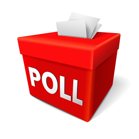 respondent: poll word on a red collection box for votes, survey responses or answers to questions