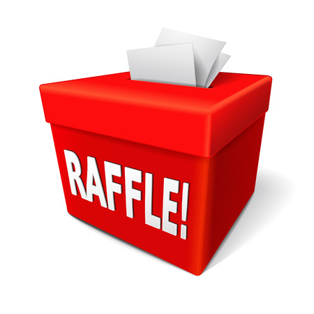 raffle word on the red box with tickets into its slot Vector