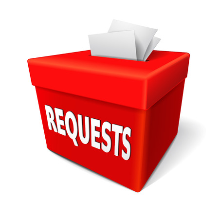 requests word on the red box with note of something that is submitted to an authority