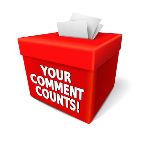 free vote: your comment counts words on the red box with notes of customers suggestions Illustration