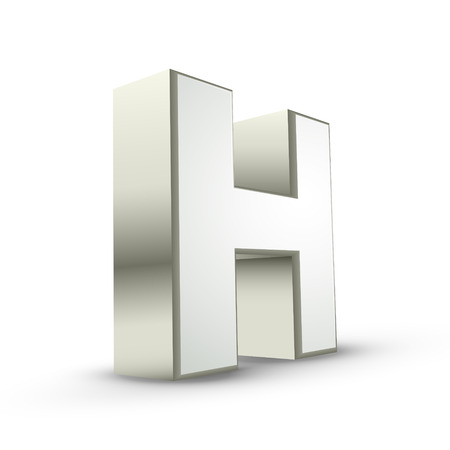 isolated on white background: 3d silver letter H isolated white background