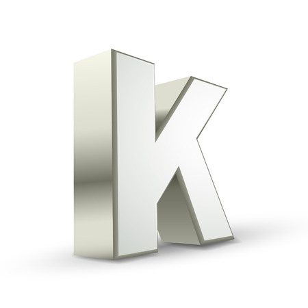 isolated on white background: 3d silver letter K isolated white background