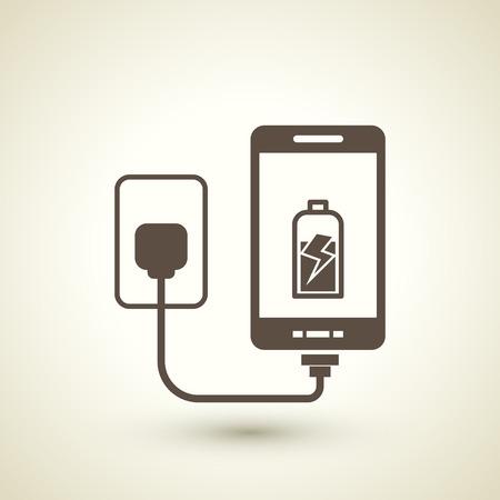 レトロなスタイルの携帯電話のベージュ色の背景上に分離されてアイコンを充電