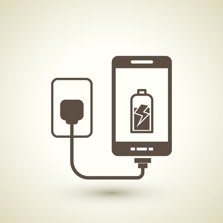 retro style mobile phone charging icon  isolated on beige background  Vector