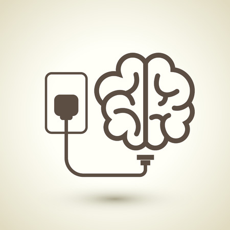 plugged: retro style brain plugged in icon isolated on beige background