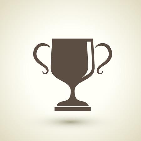 awarding: retro style trophy vector icon isolated on beige background   Illustration