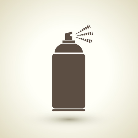 paint can: retro style spray bottle silhouette isolated on beige background   Illustration