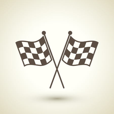 checker flag: retro style race flag icon isolated on beige background