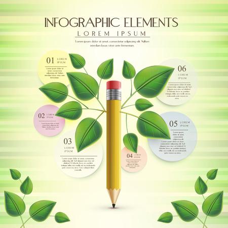 educacion ambiental: plantilla de infografía creativa y la ecología con el elemento de lápiz