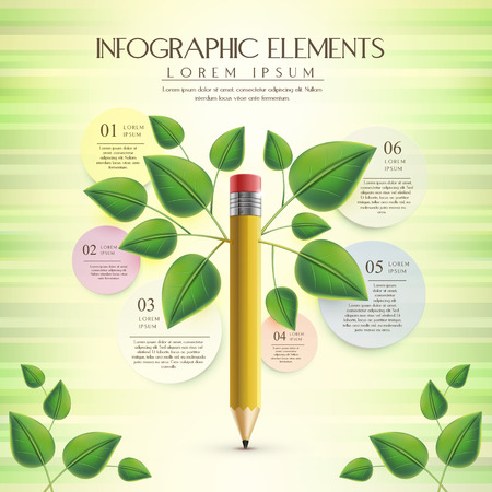 creative and ecology infographic template with pencil element Illustration