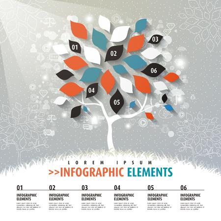 나무 요소 벡터 평면 디자인 인포 그래픽 템플릿