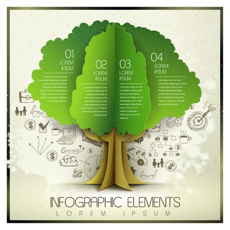 вектор рисованной и шаблон органических бумаги стиль с деревом элемента Иллюстрация