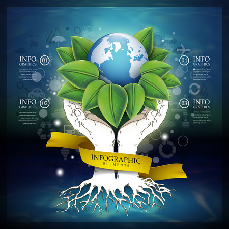 environmental awareness: abstract ecology template with earth and hands elements Illustration