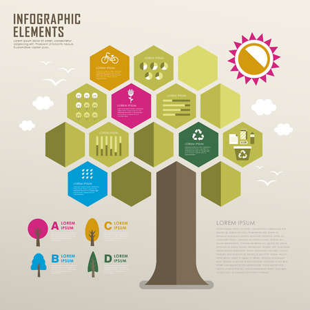 renewable resources: vector flat design infographic with tree element