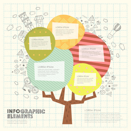 environmental awareness: collage pattern template with colorful tree element Illustration