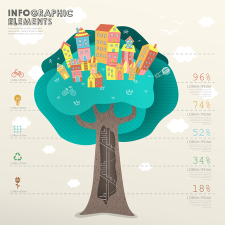 environmental awareness: vector infographic template with tree beneath houses Illustration