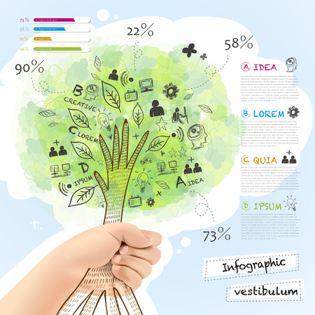 realistic and hand  drawn style vector infographic with a tree grabbed by hand Illustration