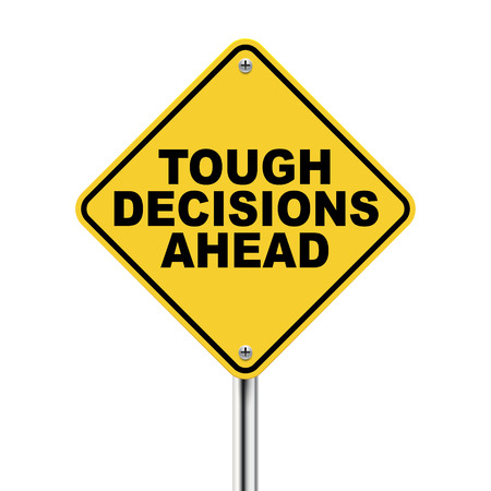 tough: 3d illustration of tough decisions ahead traffic sign