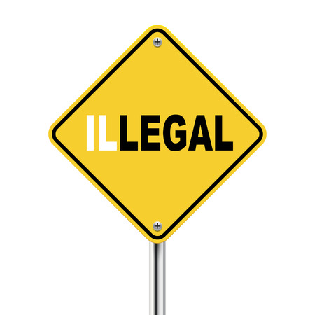 violate: 3d illustration of yellow roadsign of legal illegal isolated on white background
