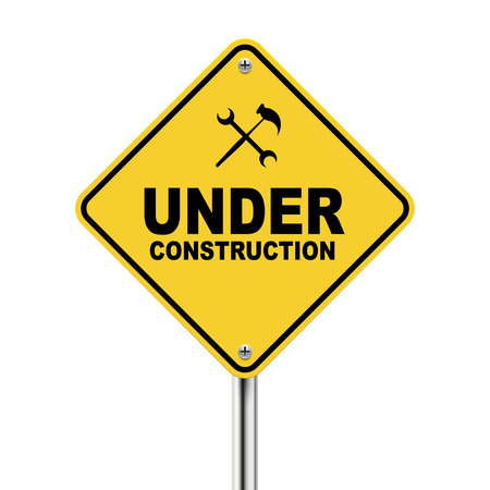 work in progress: 3d illustration of under construction road sign isolated white background Illustration