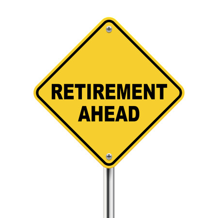 retirement savings: 3d illustration of road sign of retirement ahead isolated on white background