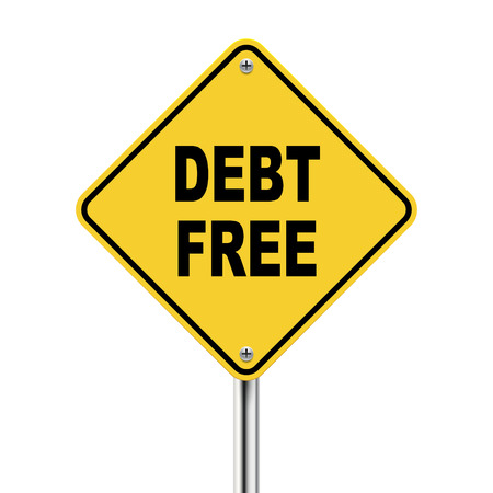 debt management: 3d illustration of yellow roadsign of debt free isolated on white background Illustration