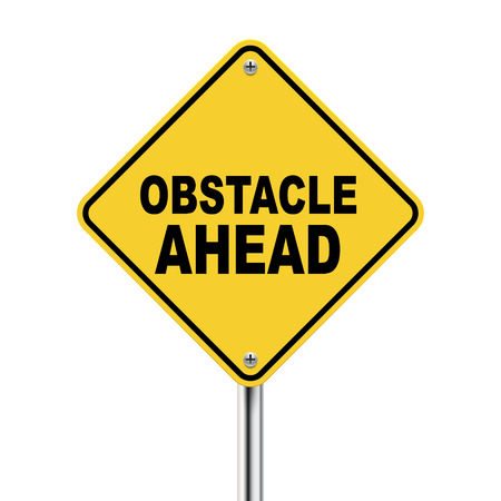 critique: 3d yellow roadsign of obstacle ahead isolated on white background