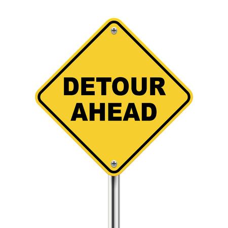 señal transito: 3d ilustración de roadsign amarillo de desvío por delante aislados sobre fondo blanco