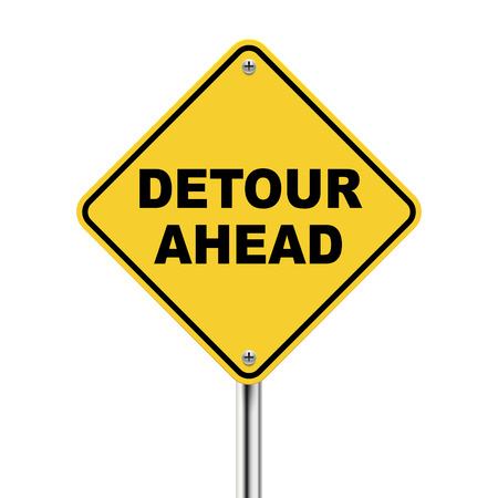 3d illustration of yellow roadsign of detour ahead isolated on white background