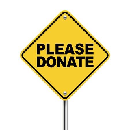 3d illustratie van gele bord van doneer op een witte achtergrond Stock Illustratie